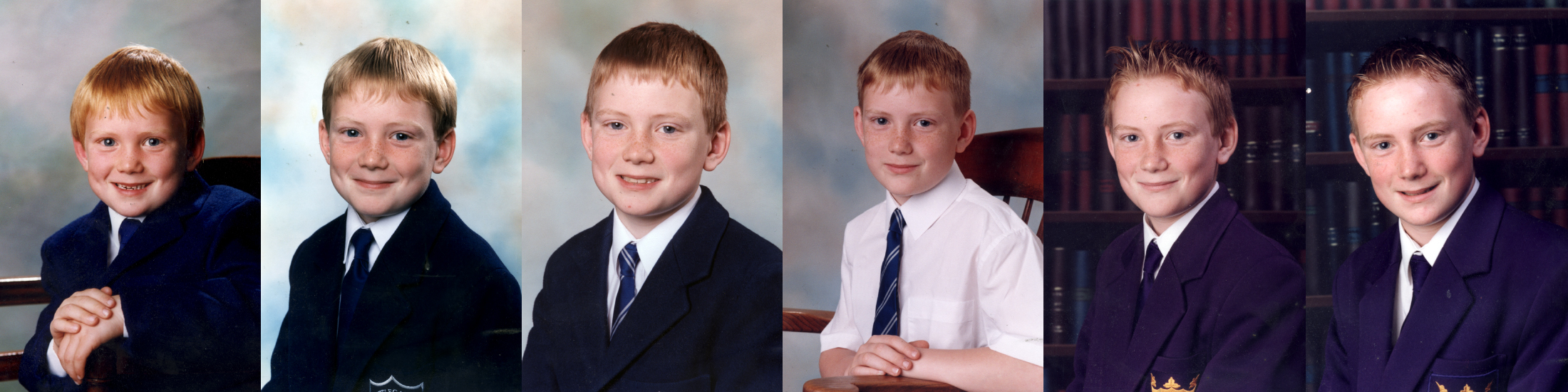 Through the years traditional photographs of school boy