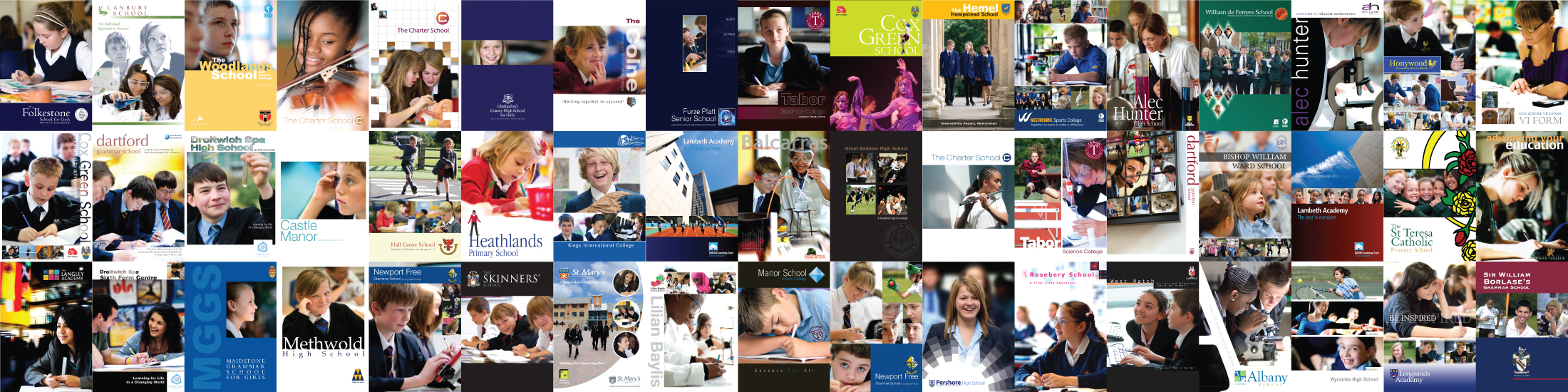 Montage of school brochures and prospectuses