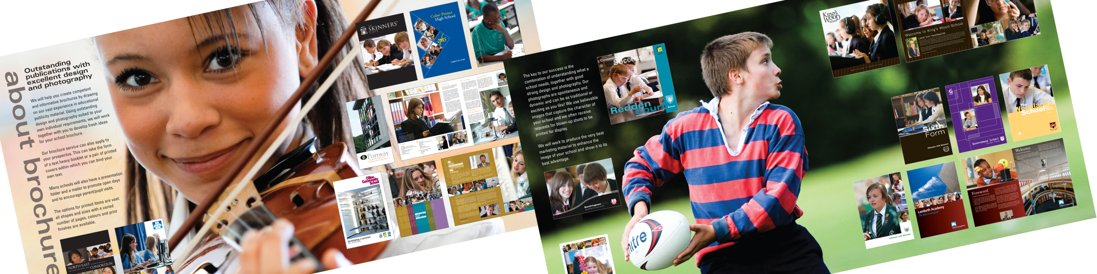 School brochures showing music and sport articles