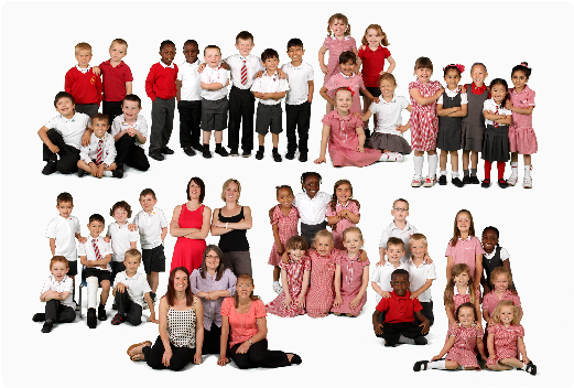Smiling school children in contemporary class group photograph